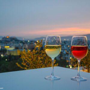 Greek wine tasting at a rooftop bar