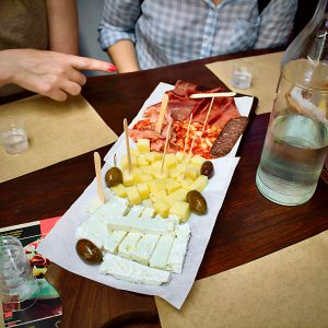 Greek platter with cheeses and cold cuts