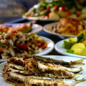 Meze with fish and vegetables