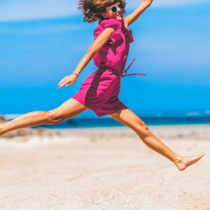 happy girl in Greek beach
