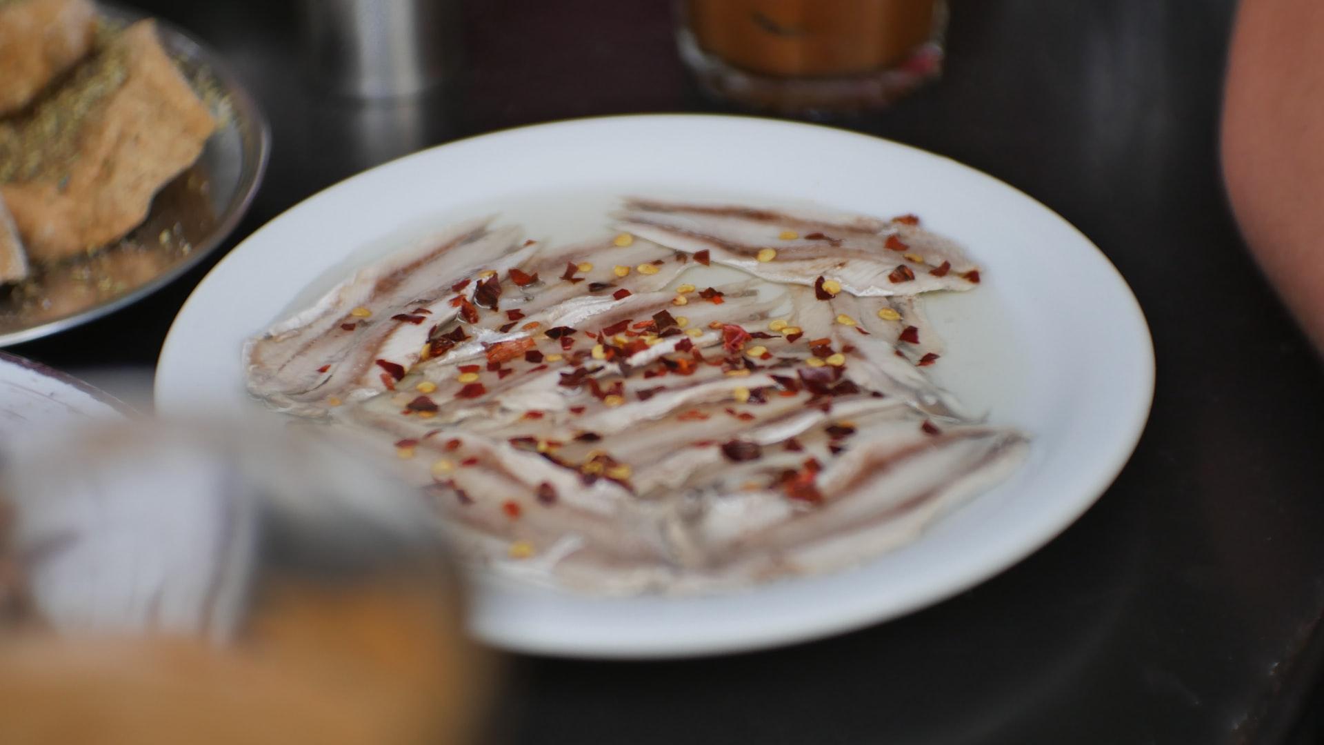Greek marinated anchovies