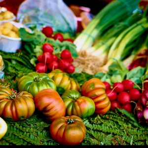Fresh vegetables at a grocery store in Athens
